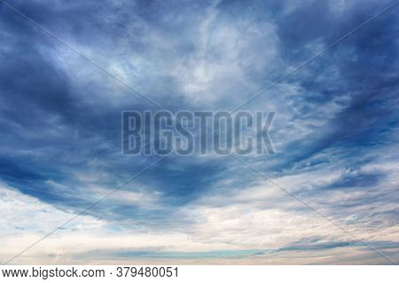 Natural Sky Composition. Dark Ominous Colorful Storm Rain Clouds. Dramatic Sky. Overcast Stormy Clou