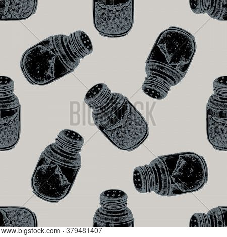 Seamless Pattern With Hand Drawn Stylized Pepper Shaker, Salt Shaker Stock Illustration