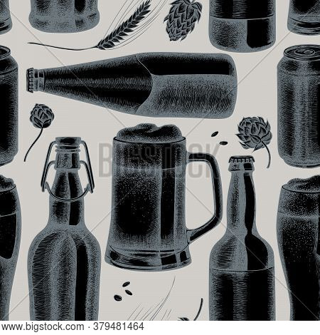 Seamless Pattern With Hand Drawn Stylized Rye, Hop, Mug Of Beer, Bottles Of Beer, Aluminum Can Stock