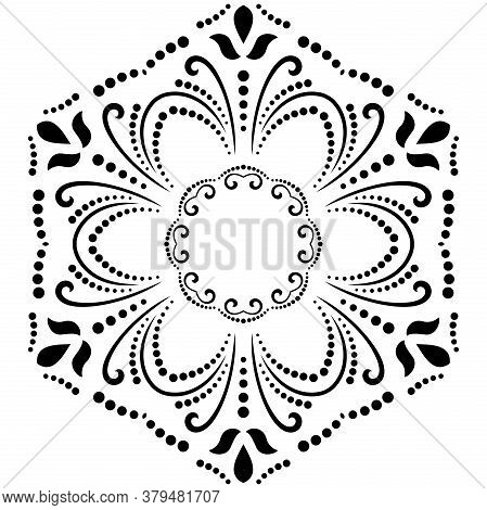 Oriental Vector Black And White Pattern With Arabesques And Floral Elements. Traditional Classic Orn