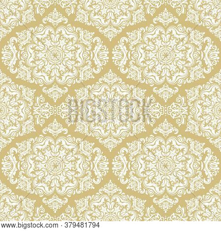 Orient Vector Classic Pattern. Seamless Abstract Golden And White Background With Vintage Elements.
