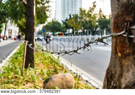 Barbed Wire On The Road As Limitation Of The Pass