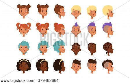 Cute Teenage Boys And Girls Heads With Various Views Collection, Teen Children Creation Constructor