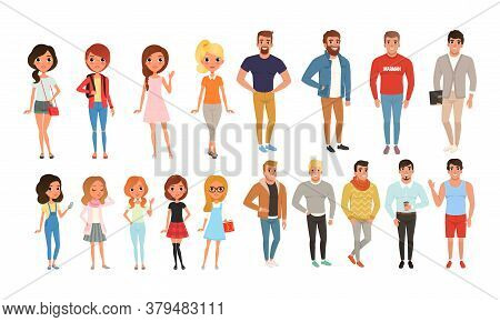 Teenage Boys And Girls In Various Outfits, Students Posing Wearing Fashionable Clothes Cartoon Style