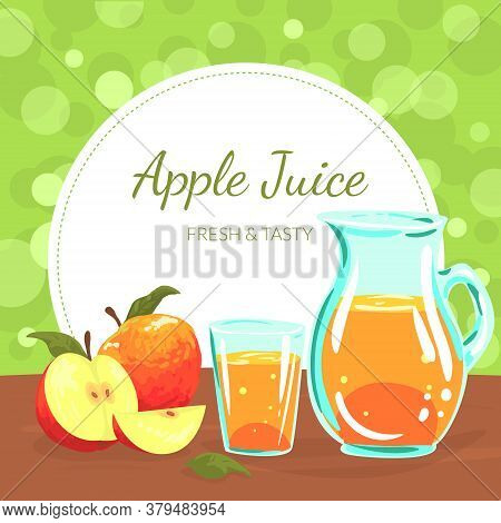 Apples Juice Banner Template, Organic Natural Fresh Juice Made Of Freshly Harvested Fruits Vector Il