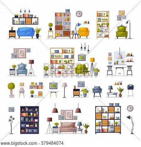 Modern Interiors With Comfy Furniture Set, Cozy Apartments Design, Home Decor Collection Vector Illu