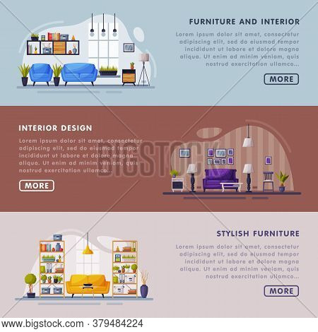 Interiors And Furniture Design Landing Page Templates Set, Trendy Cozy Apartments Space, Creation Ho