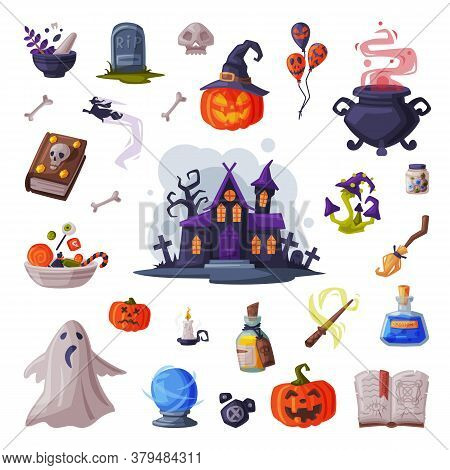Halloween Symbols Collection, Holiday Party Design Elements, Scary Gothic House, Pumpkin, Witch Caul