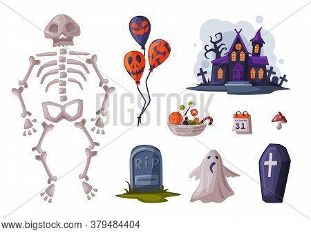 Halloween Symbols Collection, Holiday Party Design Elements, Skeleton, Balloon, Coffin, Gravestone,