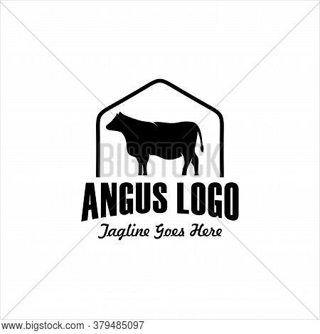 Vintage Cattle Angus Beef Meat Label Logo Design Pack