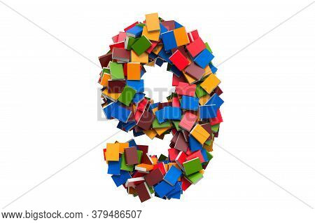 Number 9 From Colored Books. 3d Rendering Isolated On White Background