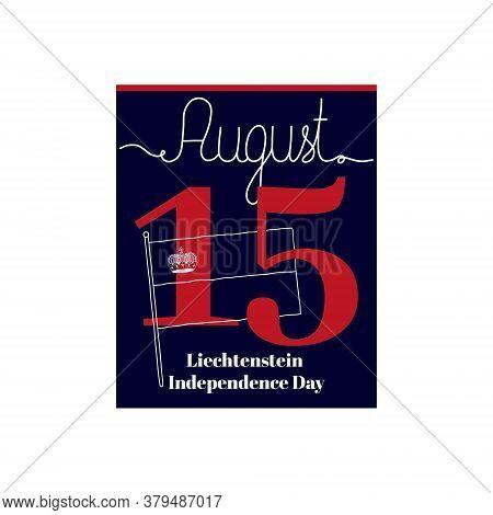 Calendar Sheet, Vector Illustration On The Theme Of Liechtenstein Independence Day On August 19. Dec