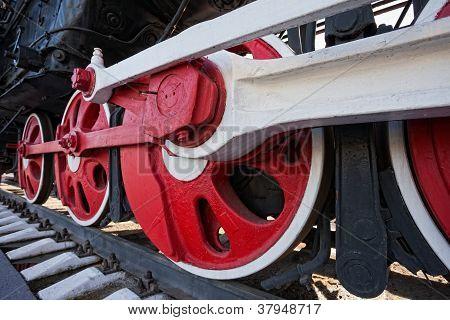 Old Steam Locomotive Engine Wheel And Rods Details
