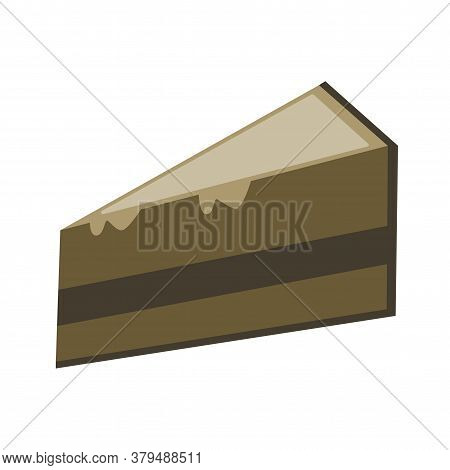 Chocolate Cake. Piece Of Chocolate Cake In Flat Style Vector Illustration