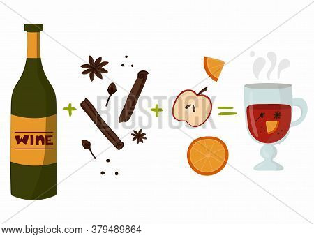 Mulled Wine Recipe. Bottle Of Wine, Glass With Mulled Wine, Orange And Apple, Autumn And Winter Drin