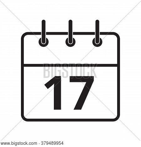 Line Icon The Seventeenth Day On The Calendar Isolated On White Background. Vector Illustration.