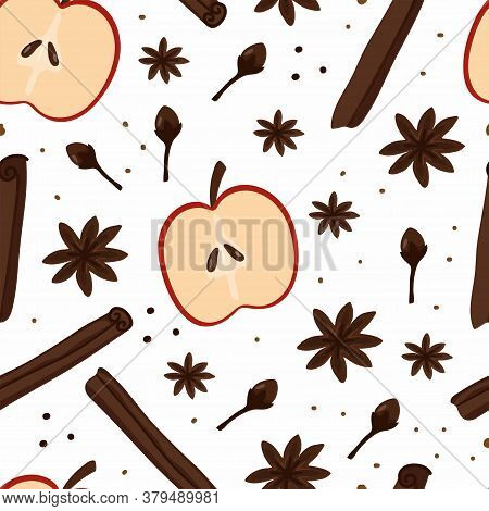 Seamless Pattern. Cinnamon And Cloves, Anise And Pepper, Apple And Aromatic For Cooking Pie Or Mulle