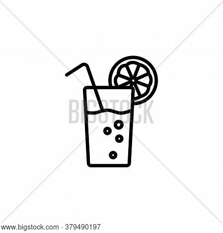 Glass Of Lemonade With Straw And Lemon Slice Linear Vector Icon. Cold Beverage In Glass With Lemon A