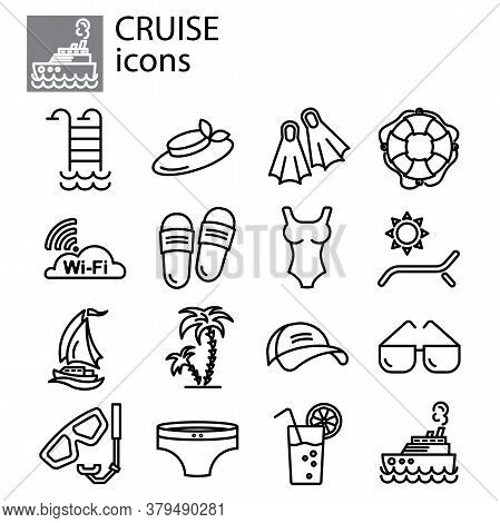 Cruise, Vacation Linear Vector Icon Set. Vacation, Summer Line Thin Sign Set. Travel, Tour Outline S