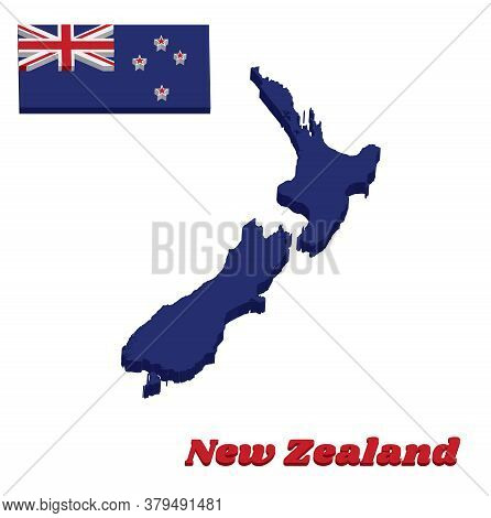 3d Map Outline And Flag Of New Zealand, A Blue Ensign With The Southern Cross Of Four White-edged Re