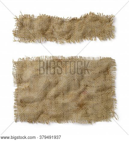 Crumpled Burlap Rectangular And Oblong Pieces Isolated On White Background. Natural Color Sackcloth