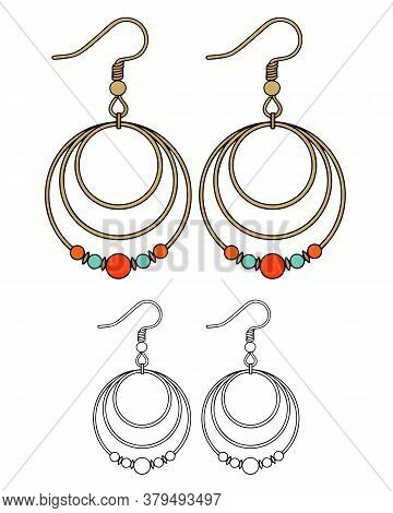 Handmade Jewelry In Ethnic Style: Round Metal Earrings With Red Beads. Vector Illustration Isolated