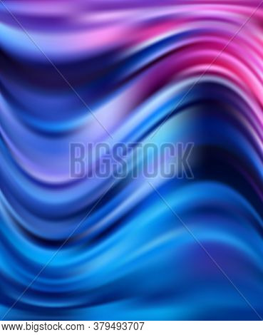 Abstract Background Luxury Blue Fabric Or Liquid Wave. Satin Velvet Material Or Luxurious Background