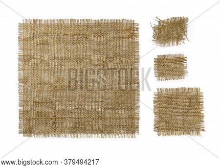 Square Burlap Pieces Of Different Sizes Isolated On White Background. Natural Color Sackcloth Patch