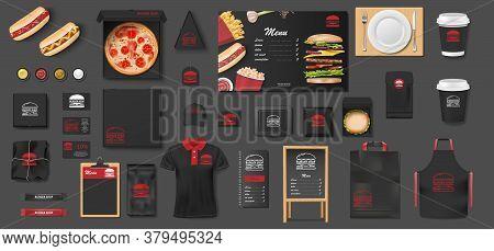 Black Mockup For Pizzeria, Cafe, Fast Food Restaurant. Branding Mock Up Set Of Pizza, Street Menu, B
