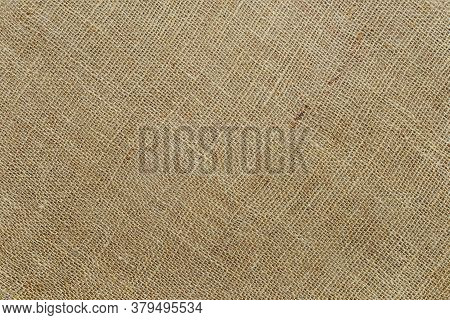 Diagonal Burlap Texture Of Natural Color. Sackcloth Rustic Canvas Background. Rough Fabric Woven Of