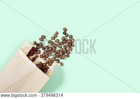Roasted Coffee Beans In Craft Paper Package Mock Up. Shopping At A Coffee Shop. Social Media Content