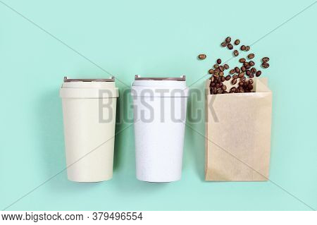 Reusable Eco Coffee Cup, Roasted Coffee Beans. Zero Waste Concept, Flat Lay. Shopping At Coffee Shop