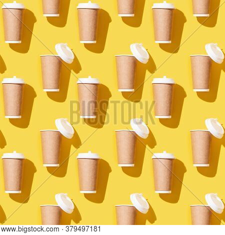 Creative Seamless Pattern With Craft Take Away Big Paper Cup For Coffee. Packaging Template Mock Up
