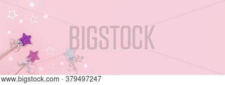 Children Girl Birthday Party Holiday Background With Bright Stars And Magic Wand Pink Pastel Colored
