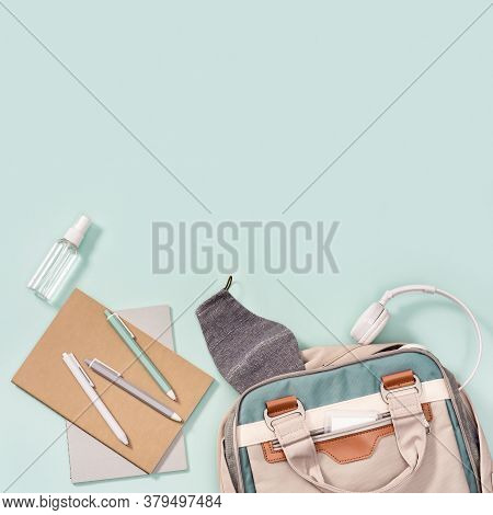 School Bag And School Supplies, Notebooks, Pens, Headphone, Mask For Protection From Infections And