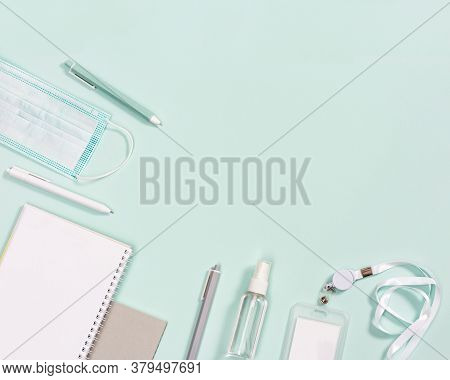 Office Supplies, Notebooks, Pens, Mask For Protection From Infections And Hand Sanitizer On Neo Mint