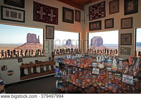 Monument Valley / United States - 08 Jul 2017: Gift Shop In Monument Valley