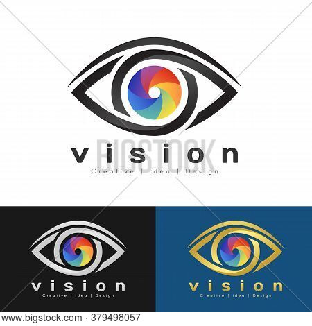 Eye Vision Logo With Rainbow Eye Iris And Black Edge Of The Eye Sign Vector Design