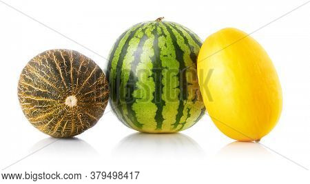 Melons and water melon, summer fruits. Fresh vegetarian food, Fruits for diet, sweet healthcare concept. Green watermelon set, Watermelons and cantaloupe Isolated on white background.
