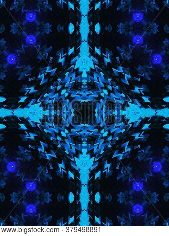 Blue And Aqua Creative Pattern With Symmetric Geometric Ornament. Ornamental Mosaic Texture. Kaleido