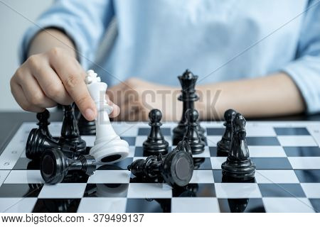Hand Move Chess With Strategy And Tactic To Win Enemy, Play Battle On Board Game, Business Opportuni