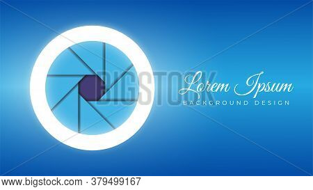 Colorful Camera Lens Open Aperture With Ring Light Stock Vector Illustration. Background Design Temp
