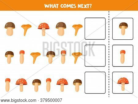 Continue Sequence With Cute Wood Mushrooms. What Comes Next.