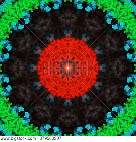 Flower Kaleidoscope Pattern Abstract Background. Red And Green Abstract Fractal Kaleidoscope Backgro