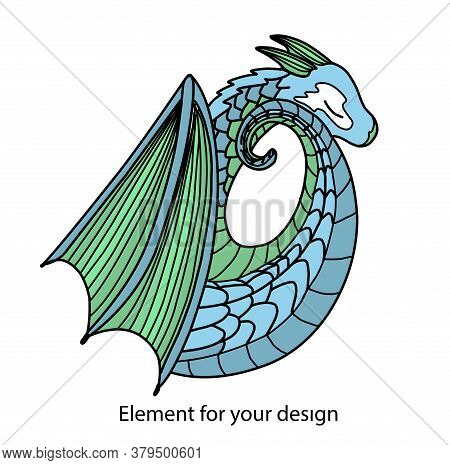 Blue Dragon. Chinese Dragon. Mystical Animal. Vector Illustration. Magic And Witchcraft