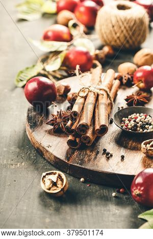 Apples And , Autumn Or Winter Cooking Concept Apple Pie, Cider, Vinegar Or Mulled Wine