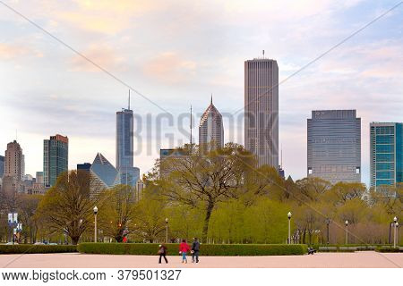 Chicago, Downtown, Illinois, United States - May 02, 2011: Evening At Grant Park And Skyline Of Down
