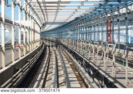 Train Track At Rainbow Bridge Of Yurikamome Elevated Train Line, Odaiba, Tokyo, Kanto Region, Honshu
