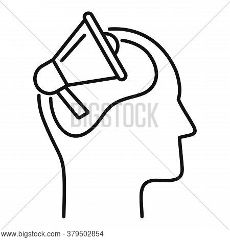 Megaphone Neuromarketing Icon. Outline Megaphone Neuromarketing Vector Icon For Web Design Isolated