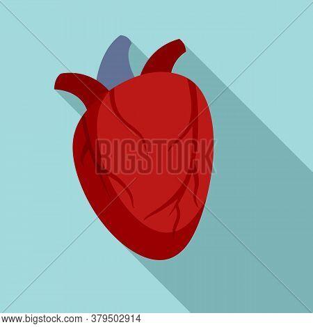 Cardiac Human Heart Icon. Flat Illustration Of Cardiac Human Heart Vector Icon For Web Design
